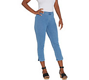 Isaac Mizrahi Live! Tall Knit Denim Pull-On Capri Jeans - A306577