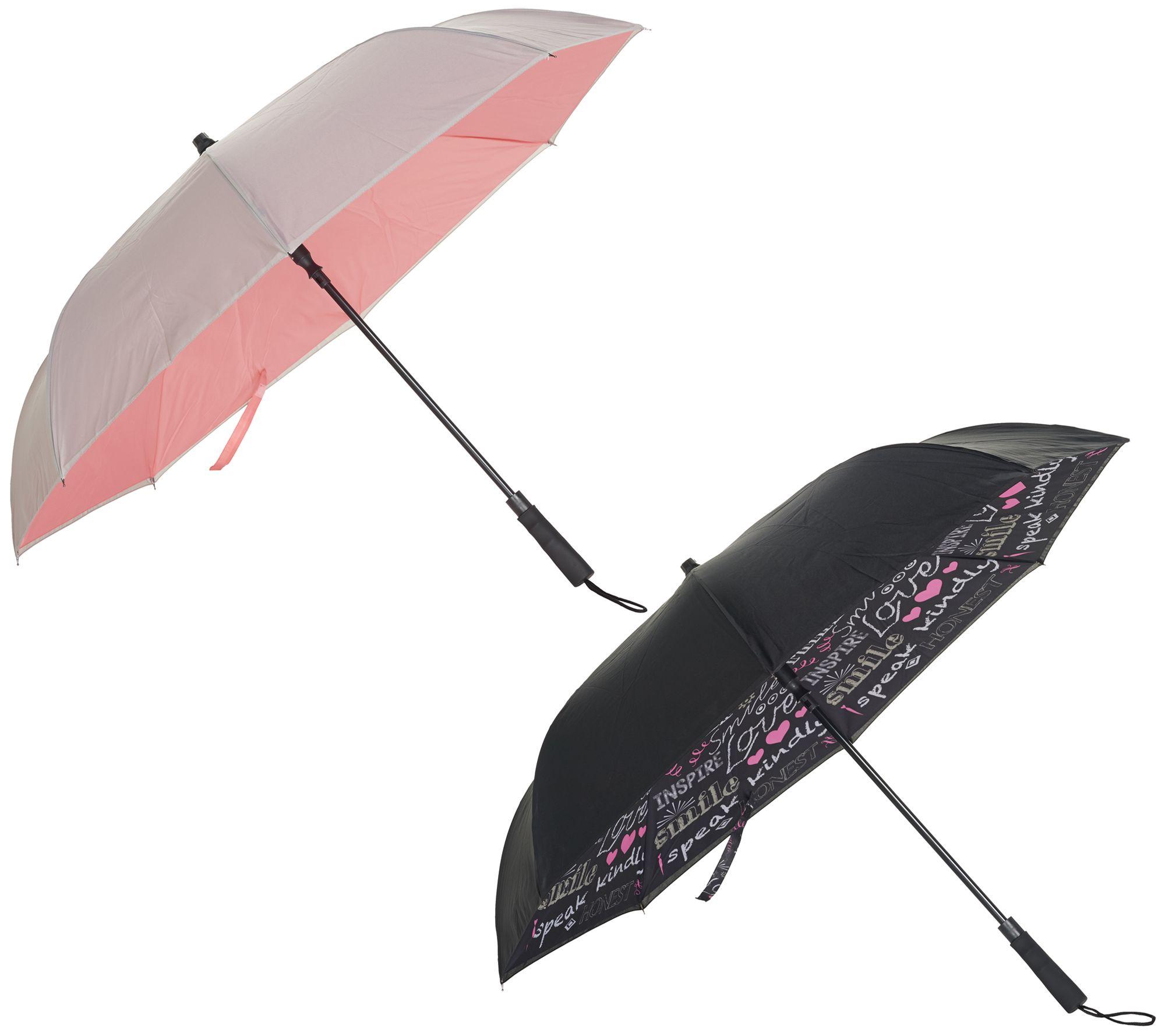 2d02d95c93f3 Revers-A-Brella Set of 2 Inverted Automatic Open Umbrellas — QVC.com