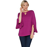 Isaac Mizrahi Live! Keyhole Neck Knit Top with Split Ruffle Sleeve - A311377
