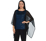 Bob Mackie Sequin Top with Chiffon Side Panels - A344977