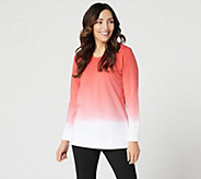 Denim & Co. French Terry Dip Dye Long-Sleeve Tunic - A346977