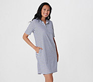 Denim & Co. Active Knit Terry Zip Front Elbow Sleeve Dress - A379777