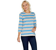 Denim & Co. Perfect Jersey 3/4 Sleeve Heather Stripe Top - A221878