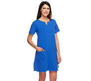 Susan Graver Weekend French Terry Short Sleeve Dress w/Split V-Neck - A254178