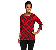 Denim & Co. Brushed Heavenly Jersey Bias Plaid 3/4 Sleeve Top - A259178