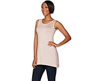 LOGO by Lori Goldstein Slub Knit Tank with Crochet Side Trim - A275778