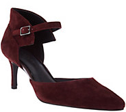 H by Halston Suede Heels with Adjustable Ankle Strap - Laurie - A280378
