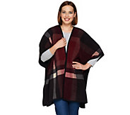 Denim & Co. Plaid Printed Reversible Open Front Fleece Poncho - A282378