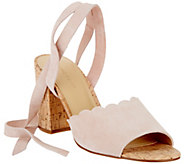 Marc Fisher Scalloped Suede Ankle Wrap Sandals - Piya - A289878