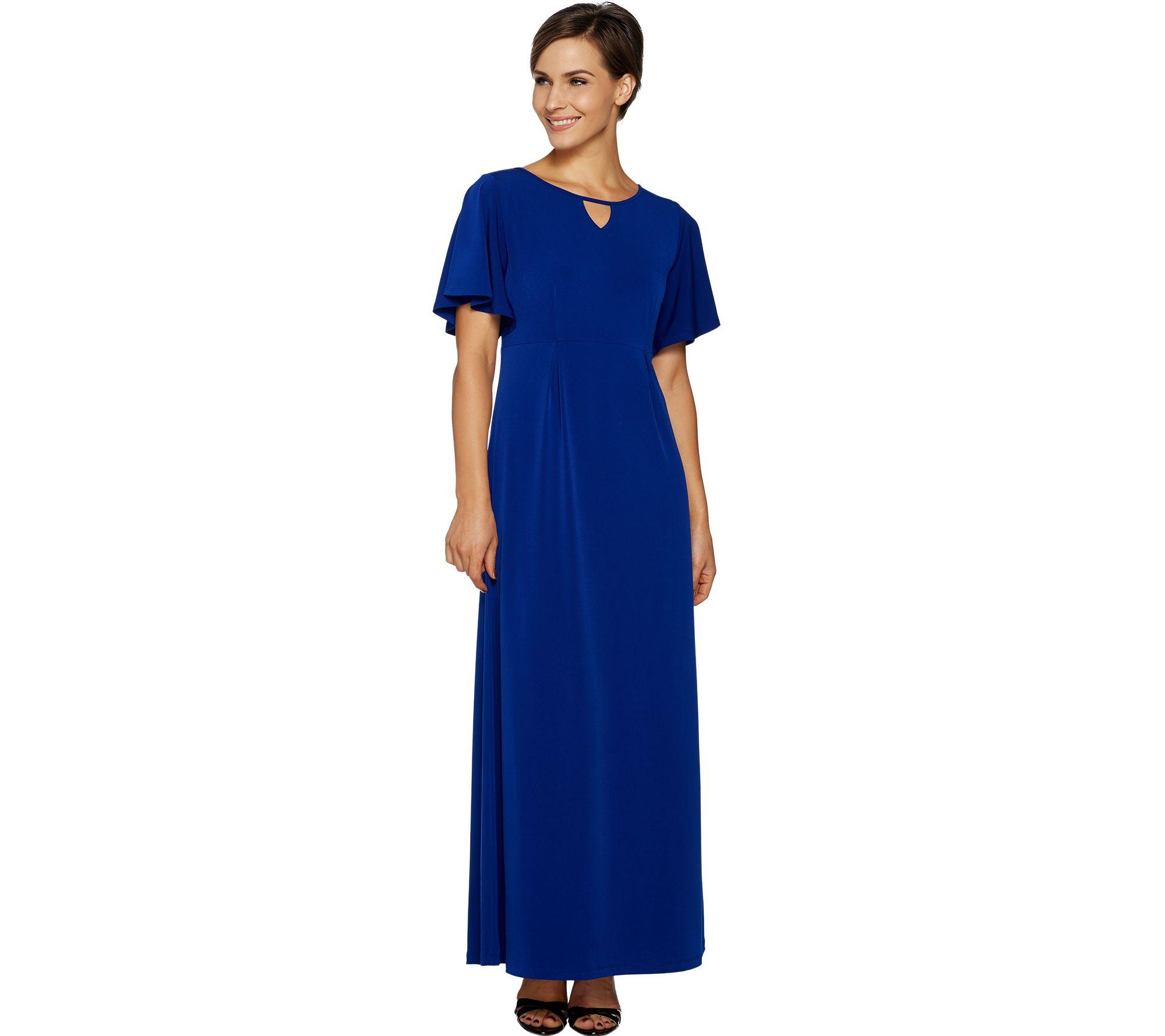 Susan Graver Liquid Knit Maxi Dress With Flutter Sleeves Qvc Com