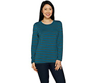 Denim & Co. Perfect Jersey Striped Long Sleeve Crew Neck Top - A297778