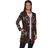 Susan Graver Printed Sweater Knit Button Front Duster - A298478