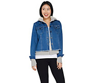 Peace Love World Novelty Denim Jacket with French Terry Hoodie - A299478