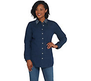 Quacker Factory Button Front Denim Tunic with Rhinestone Collar - A341778