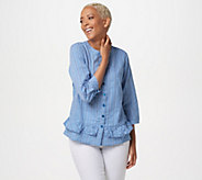 Joan Rivers Gingham Button Front Blouse with Ruffles - A351478