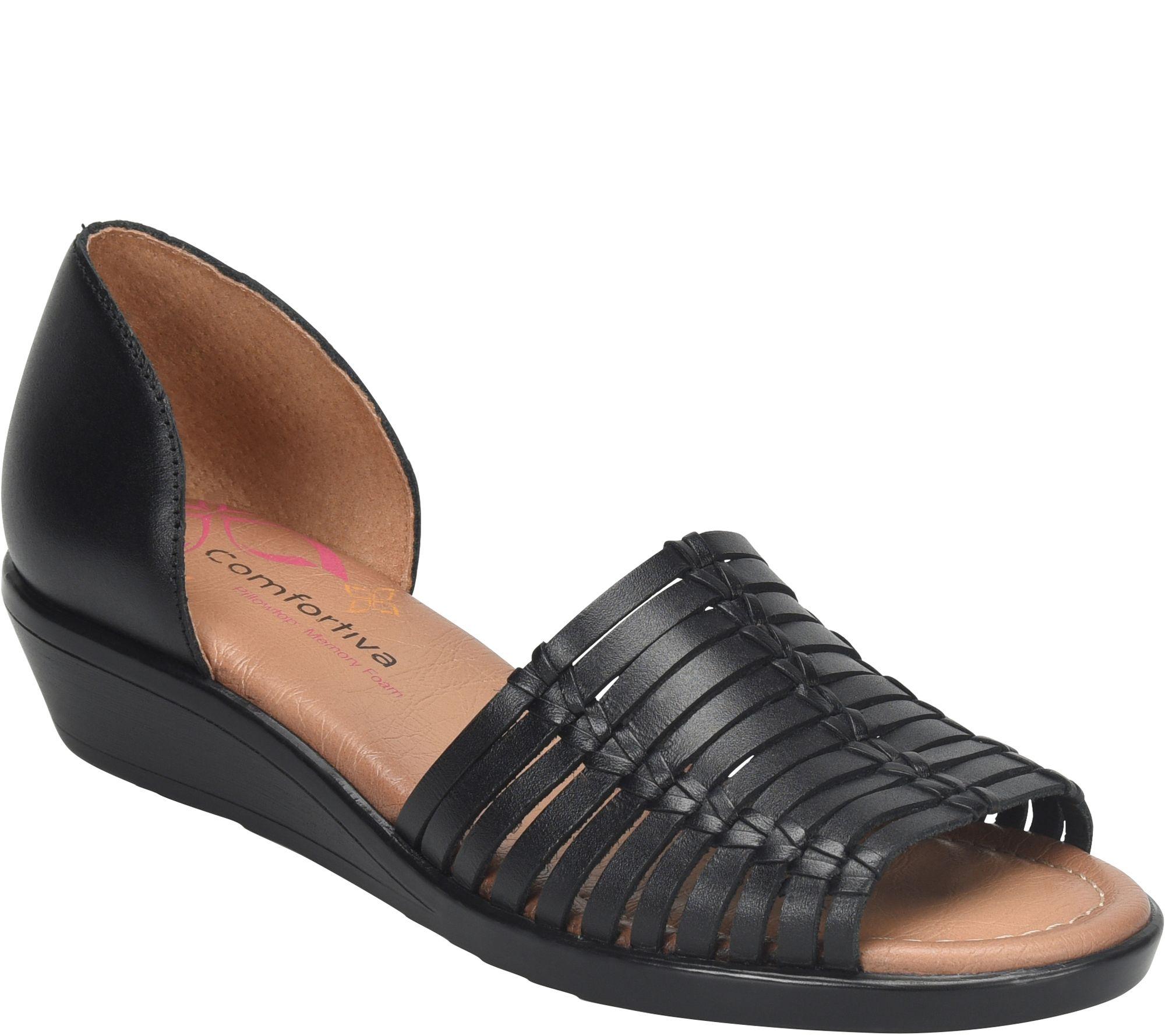 93dd88c087209 Comfortiva Leather Huarache Sandals - Fayann - Page 1 — QVC.com
