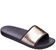 Crocs Slide Sandals - Sloane Hammered Met Slide - A413178