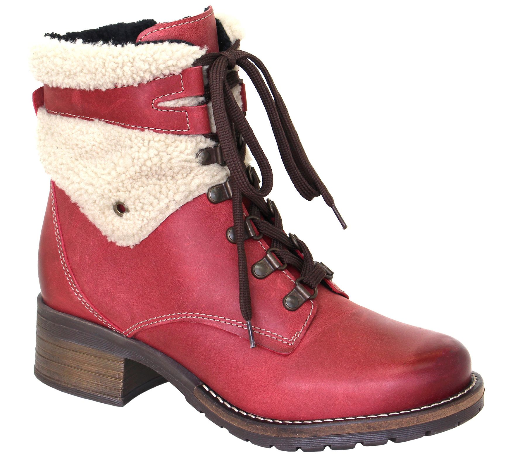 78ec81c0314f25 Dromedaris Leather Lace-Up Ankle Boots - Kara Shearling - Page 1 — QVC.com