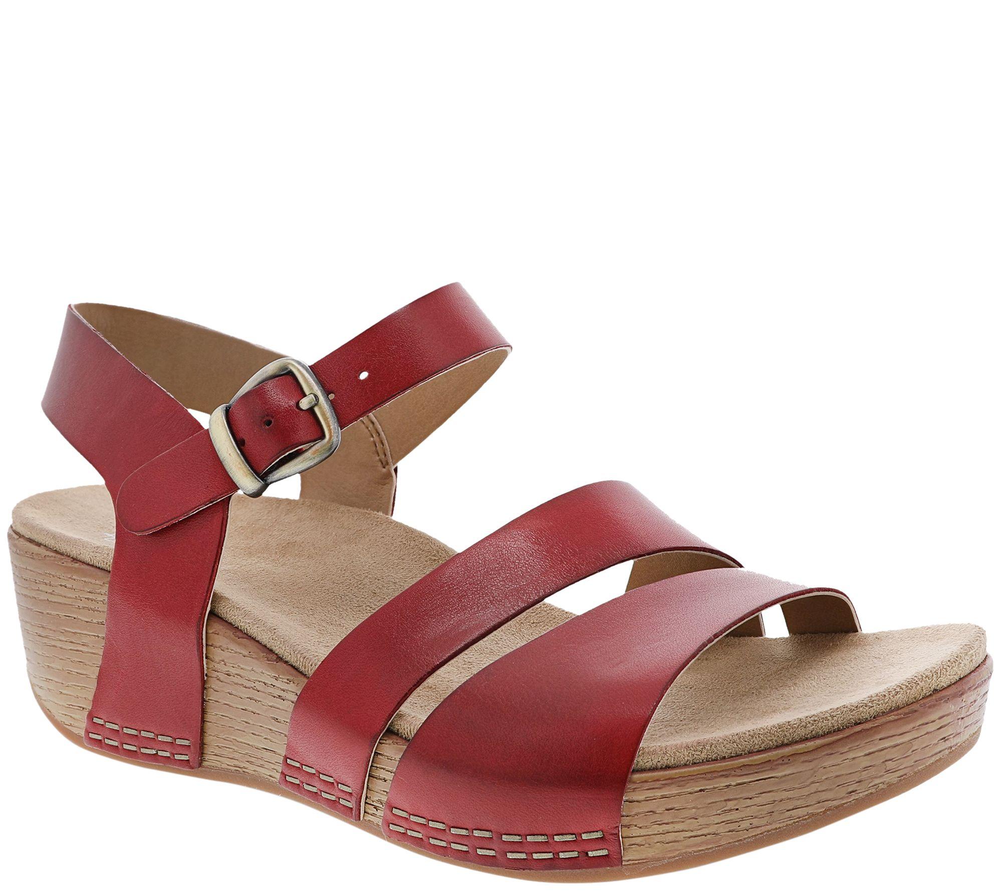 ea758f2cbb2 Dansko Women s Adjustable Ankle Strap Wedge Sandals - Lindsay — QVC.com