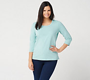 Denim & Co. Essentials Perfect Jersey 3/4 Sleeve Round Neck Top - A213779