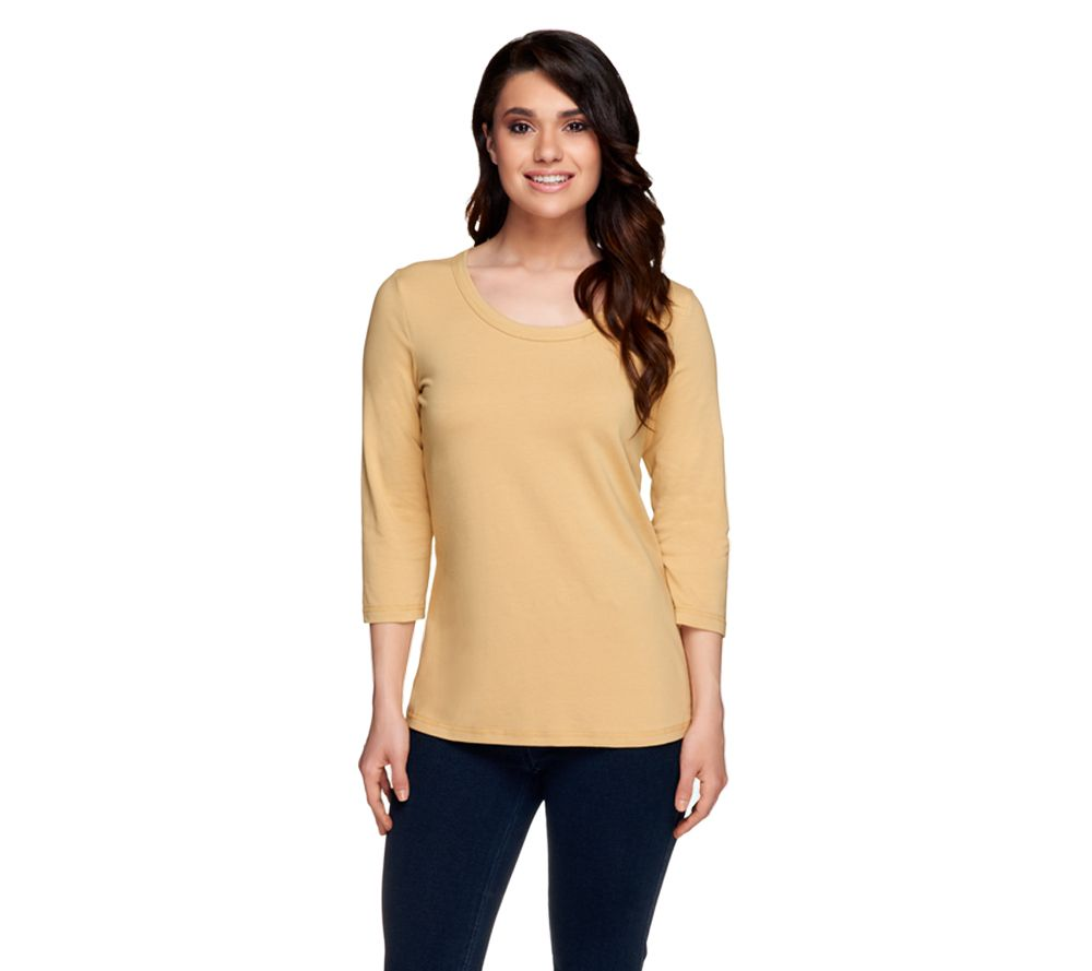 32626bd2b3f Denim   Co. Essentials Perfect Jersey 3 4 Sleeve Round Neck Top - Page 1 —  QVC.com