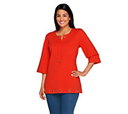 Denim & Co. Notch Neck and Rope Tie Tunic with Grommets - A222679
