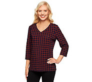 Denim & Co. 3/4 Sleeve V-neck Tile Print Knit Top - A235179
