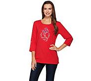 Quacker Factory Stars & Stripes Anchors Away 3/4 Sleeve T-shirt - A272879