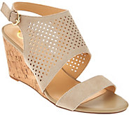 C. Wonder Perforated Suede Cork Wedge Sandals - Sheila - A276579