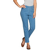 Denim & Co. Perfect Denim Smooth Waist Regular Ankle Jeans - A279879