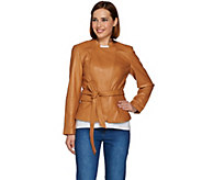 Isaac Mizrahi Live! Snap Front Lamb Leather Jacket w/ Belt - A279979