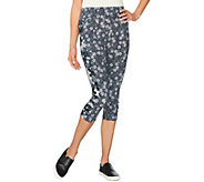 LOGO by Lori Goldstein Printed Knit Capri Pants with Ruching - A286979