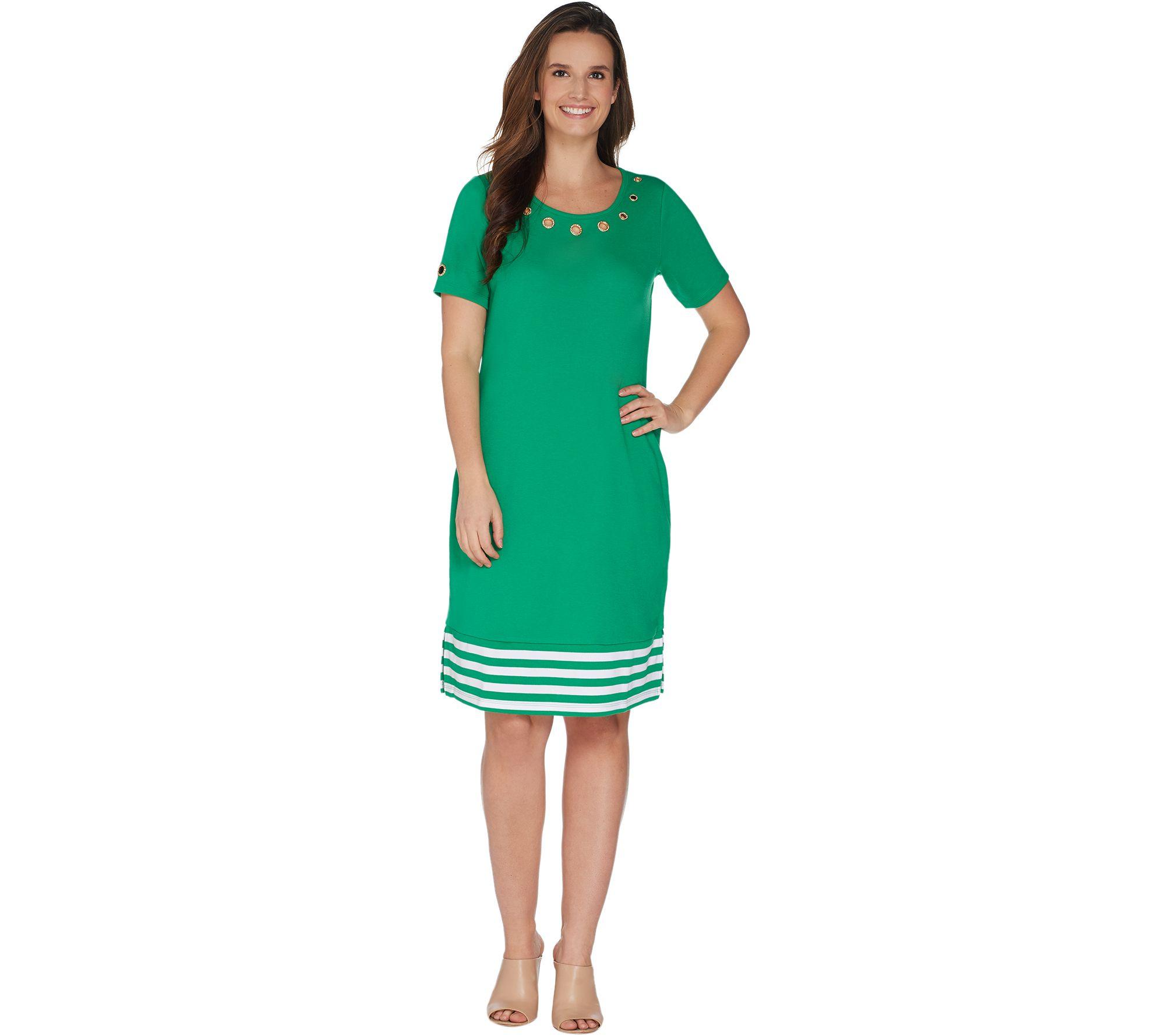 bfb880c55ef1 Quacker Factory Short Sleeve Striped Hem Knit Dress with Grommet Detail -  Page 1 — QVC.com