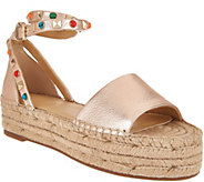 Marc Fisher Leather Espadrilles w/ Ankle Strap - Vajen - A289879