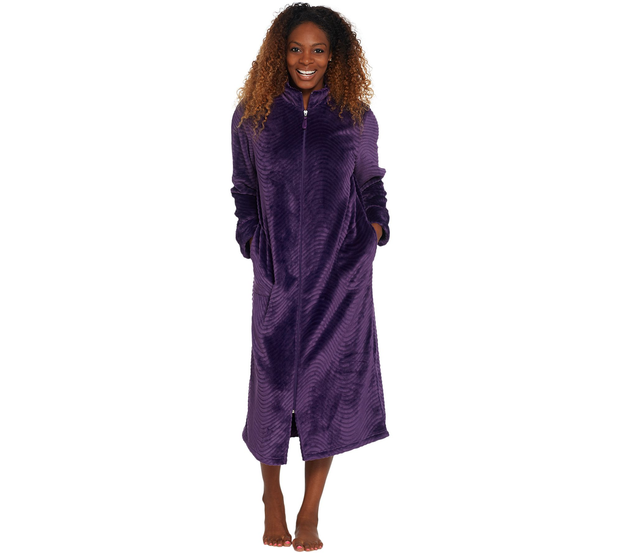 Stan Herman Silky Plush Trimmed Wave Long Zip Robe - Page 1 — QVC.com 4c4bfef4b