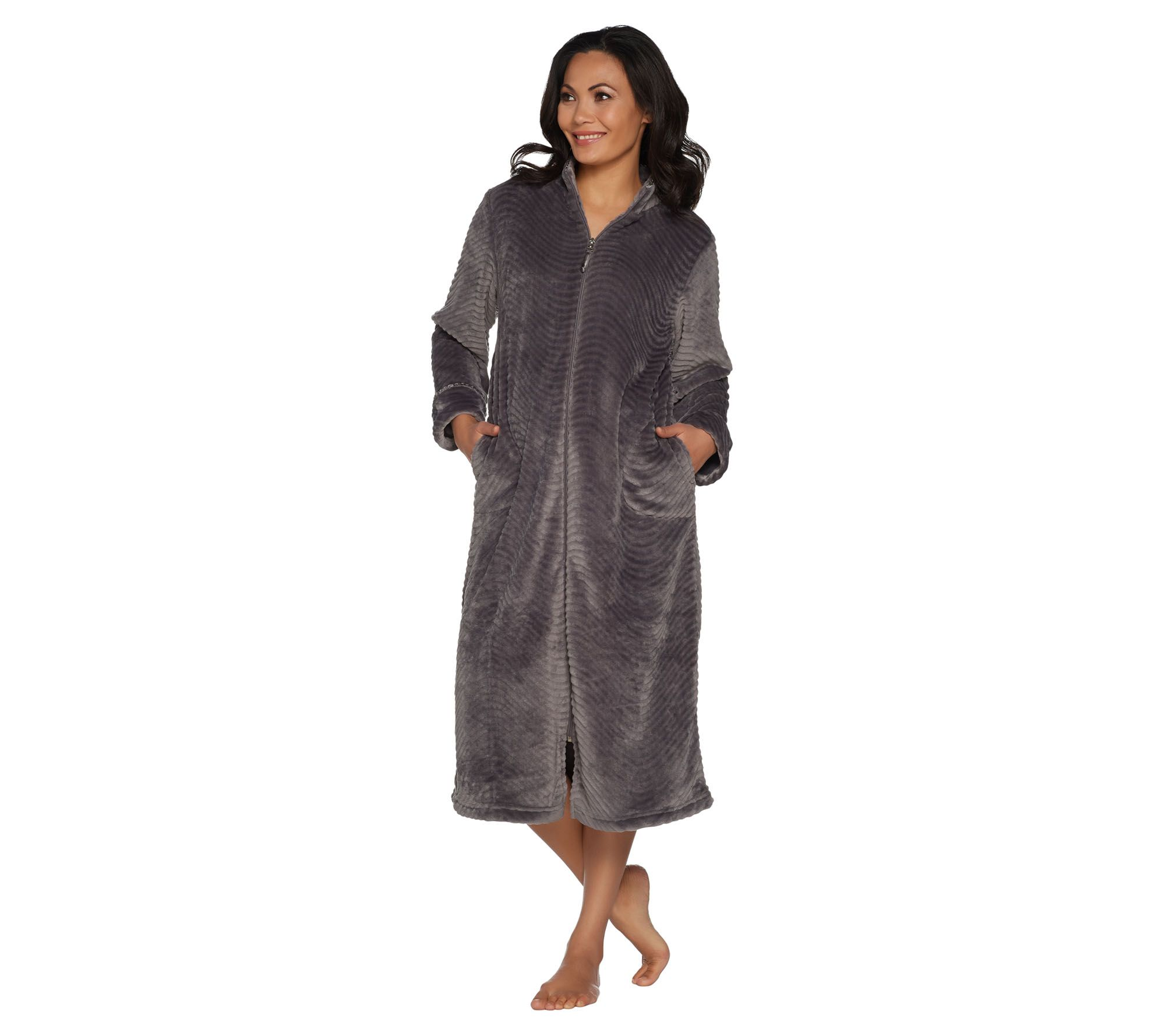 d2625392e8 Stan Herman Silky Plush Trimmed Wave Long Zip Robe - Page 1 — QVC.com