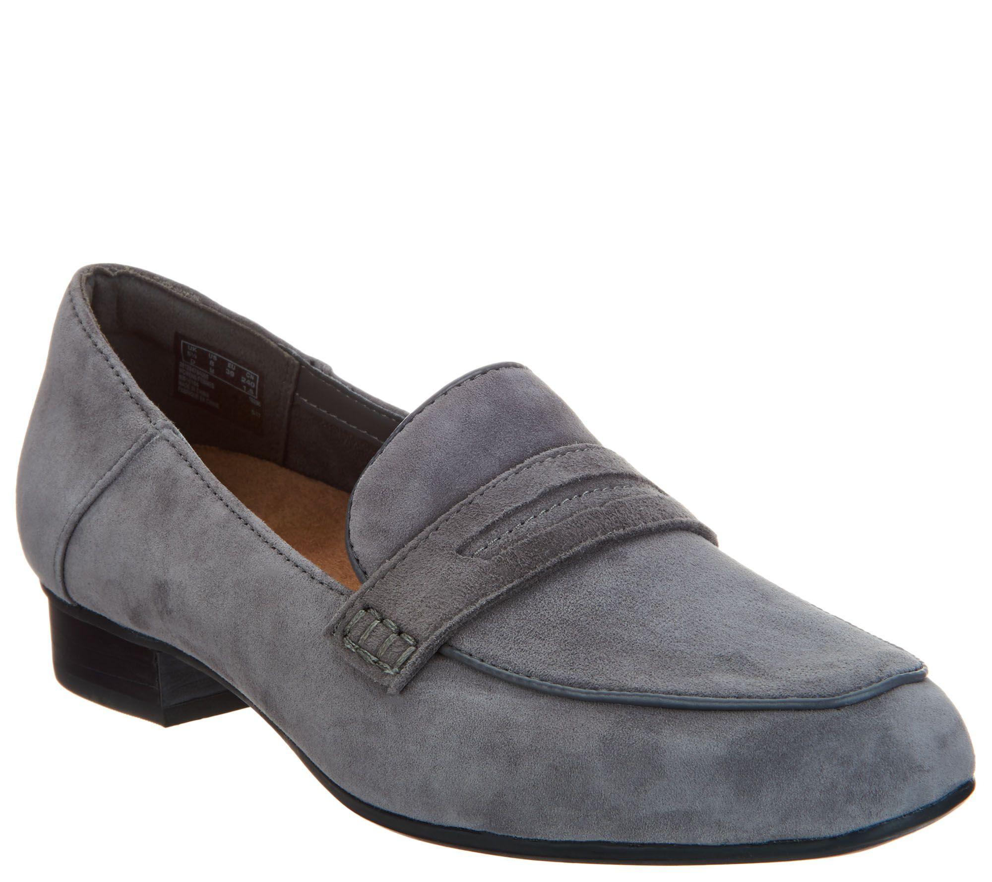 3295feb8c17 Clarks Artisan Suede Heeled Loafers - Keesha Cora - Page 1 — QVC.com