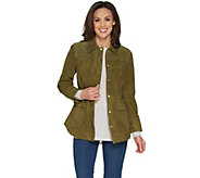Isaac Mizrahi Live! Suede Anorak Jacket with Patch Pockets - A300879