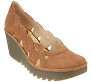 FLY London Leather Slip On Wedges - Yelk - A304879