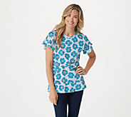 LOGO by Lori Goldstein Cotton Modal Top with Flutter Sleeves - A305479