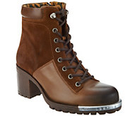 As Is FLY London Leather Lace-up Ankle Boots- Leal - A307179