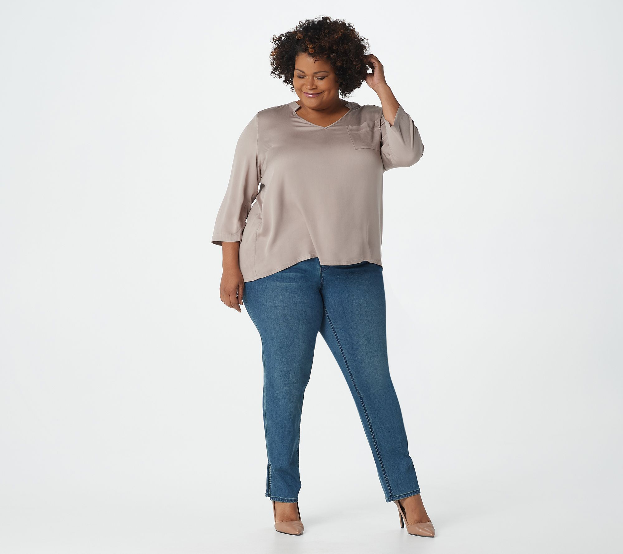 6e0f71257f5c Lisa Rinna Collection Stretch Woven Open-Neck Blouse - Page 1 — QVC.com