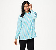 Linea by Louis DellOlio Stand Collar Striped Shirt With Back Box Pleat - A347479