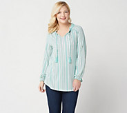Isaac Mizrahi Live! TRUE DENIM Stripe Split-Neck Knit Tunic - A350379