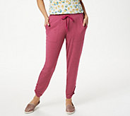 LOGO Lounge by Lori Goldstein French Terry Pant with Ruched Leg - A350579