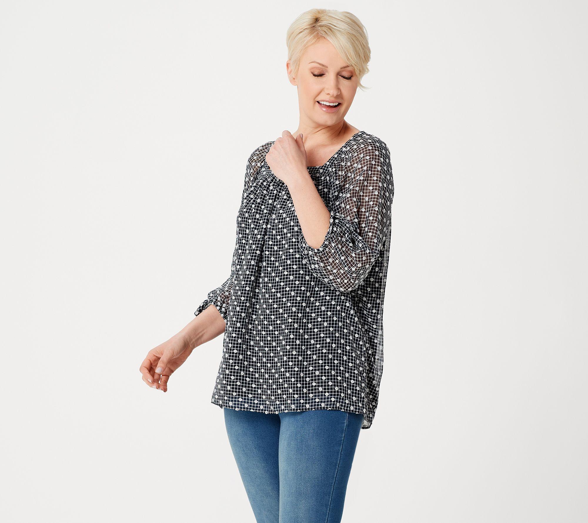 Martha Stewart Clip Dot Square Neck 34 Sleeve Peasant Blouse —