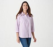 Joan Rivers Multicolor Seersucker Collared Shirt w/ 3/4-Sleeves - A351779