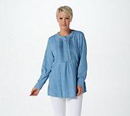 Joan Rivers Long Sleeve Denim Shirt with Pintuck Detail - A366279