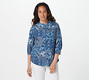 Joan Rivers V-Neck Patchwork Print Denim Shirt - A397479