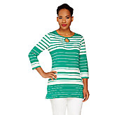 Liz Claiborne New York 3/4 Sleeve Striped Tee w/ Keyhole - A262180